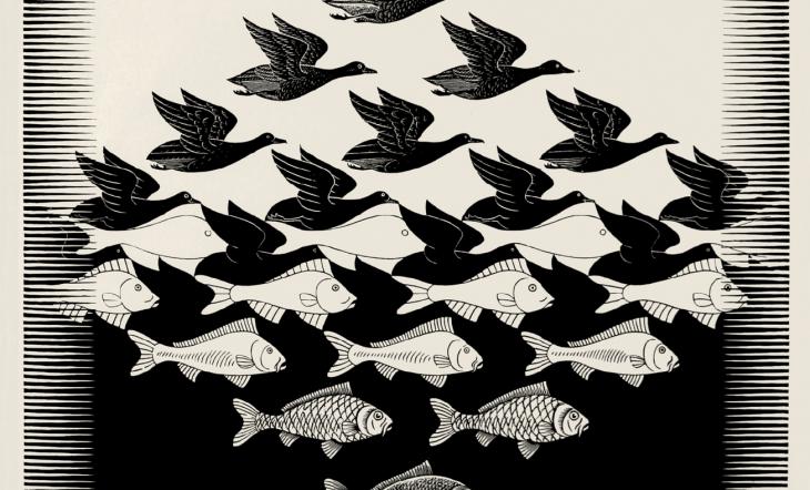 M.C. Escher Cielo y agua, 1938