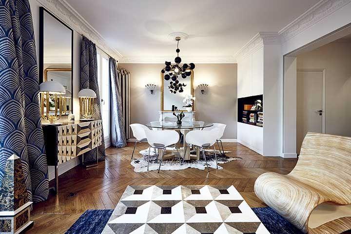 Comedor. Piezas de mobiliario de la firma Rue Monsieur Paris. Las lámparas son diseños de la firma DelightFull. Cortinas de Lelièvre, en Gastón y Daniela.