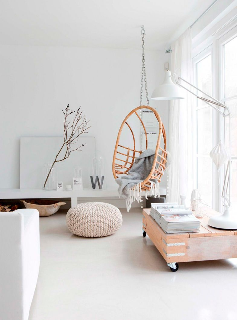 Decoración en blanco y madera