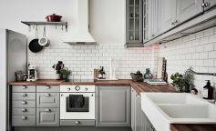 Cocina blanca y gris - Planete Deco