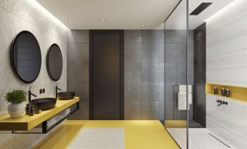 Una ducha a ras de suelo en el baño
