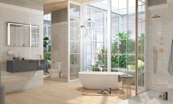 Render realizado por @designbyhyellow, con la colección Lounge en el equipamiento del baño